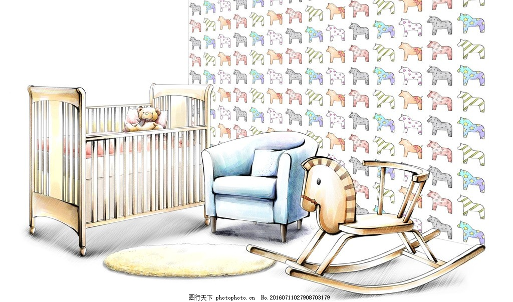 儿童房设计手绘效果