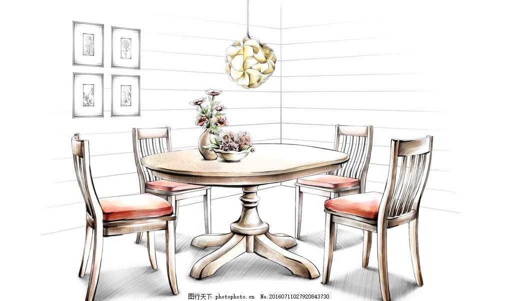 餐厅设计手绘效果 餐桌 餐椅 吊灯 鲜花 壁画 墙壁 家居 家具