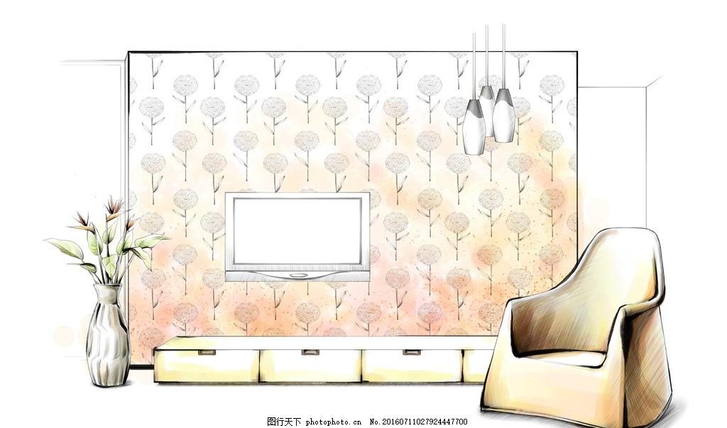 客厅电视墙设计手绘效果 背景墙 花瓶 植物 摆设 沙发 灯具 吊灯