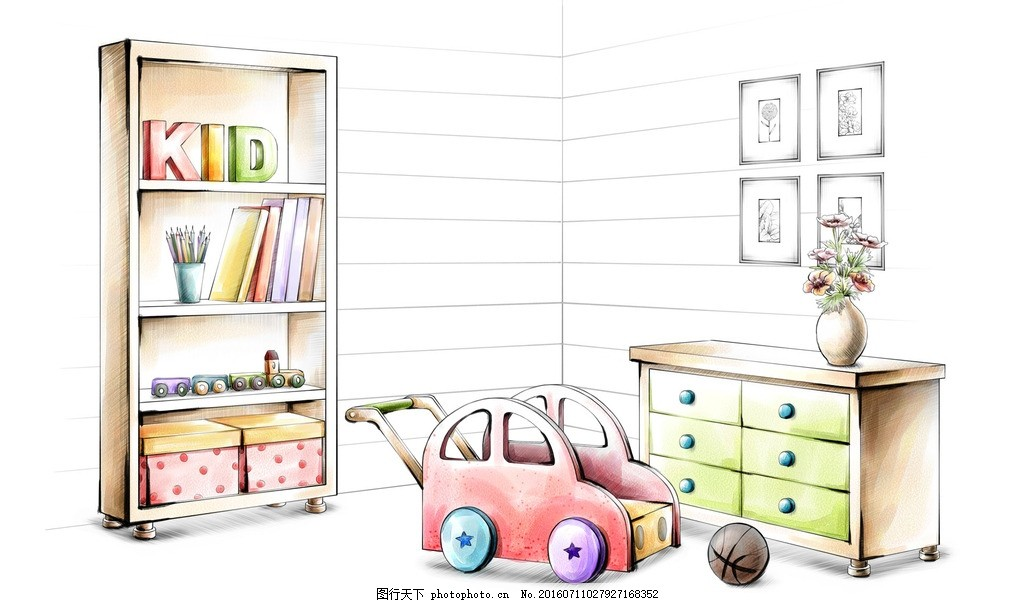 儿童房手绘效果 童车 书架 柜子 植物 壁画 篮球 家居 家具