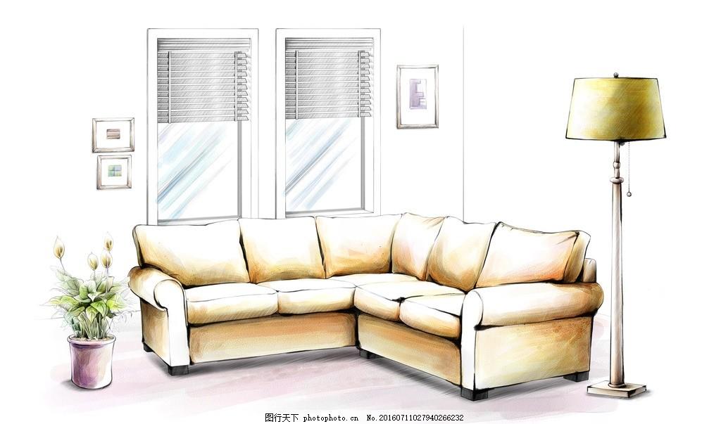 沙发手绘效果 植物 盆栽 台灯 窗户 壁画 家居 家具 陈列 室内摆设