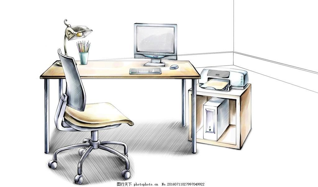 书桌手绘效果图 书房 办公桌 电脑 台灯 笔筒 家居 家具 陈列
