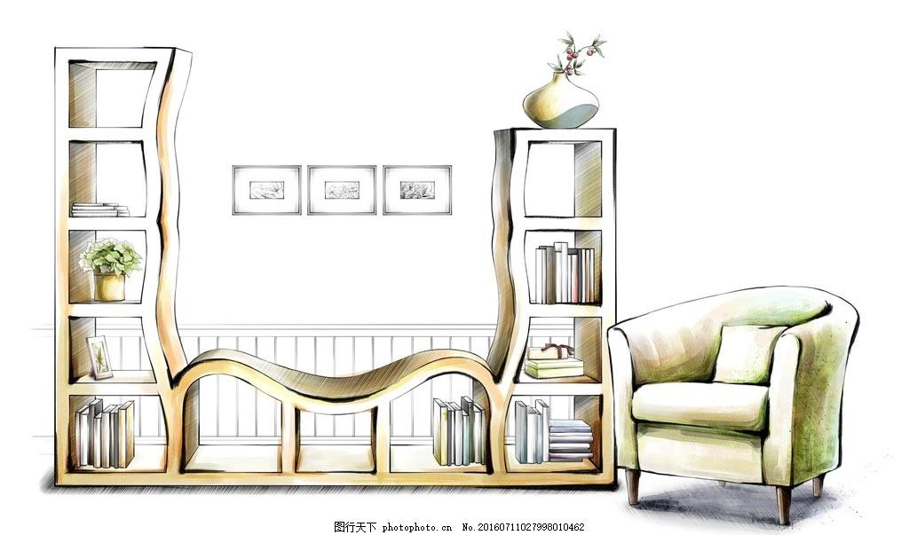 书房设计手绘效果