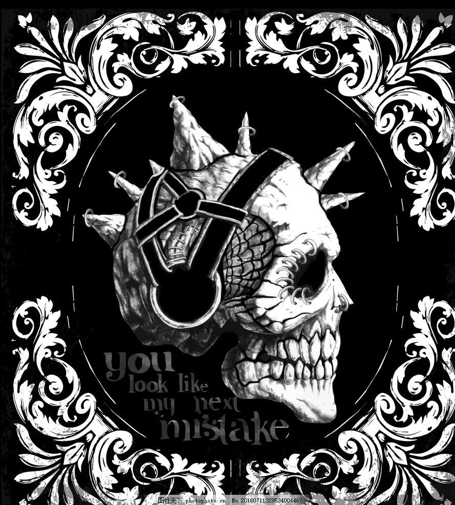 骷髅印花 骷髅纹身 潮流骷髅图案 复古 骷髅 印花 t恤 戴帽子的骷髅