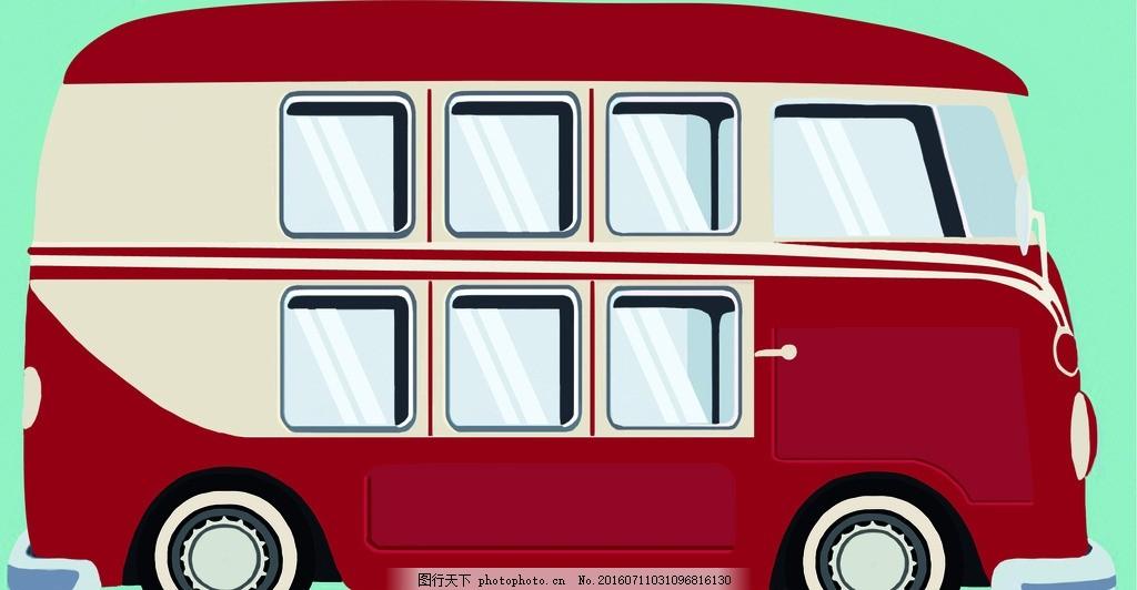 卡通公交 手绘 动漫 公交车 英伦风 红色