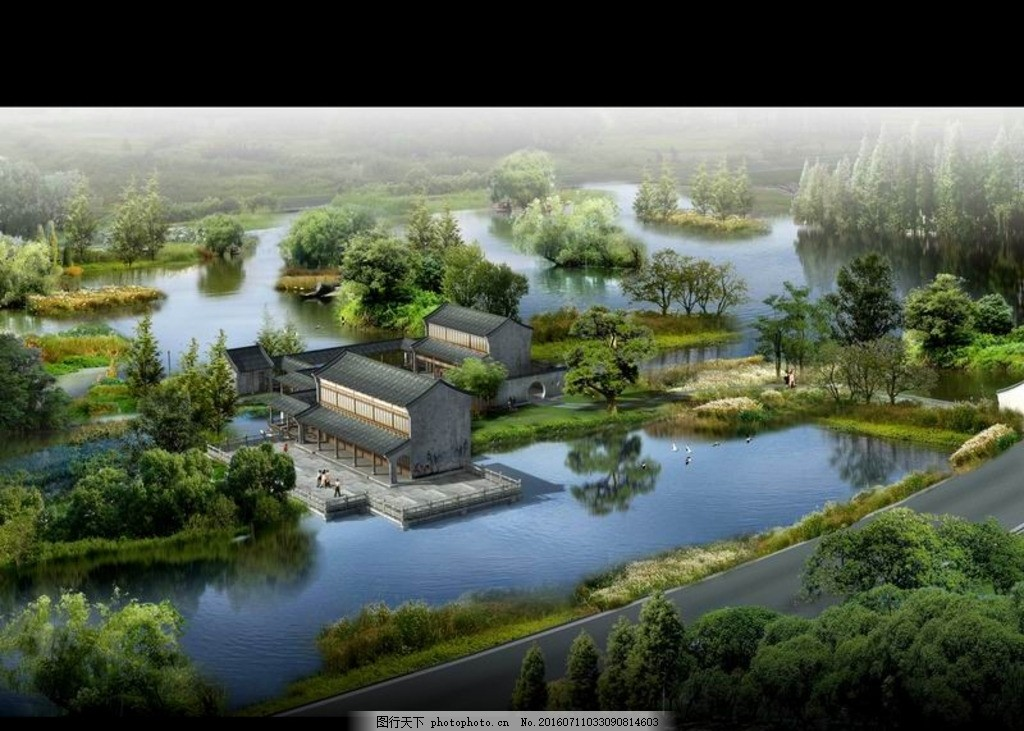 江南水乡水景鸟瞰效果图 公园景观 厂区园林 公共园林 园林效果图