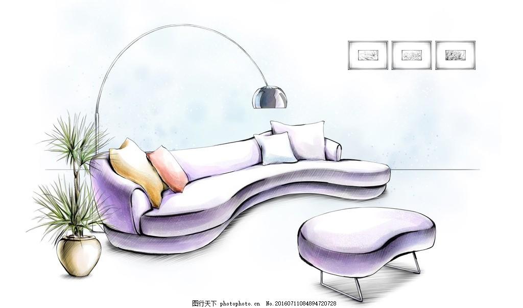沙发手绘效果