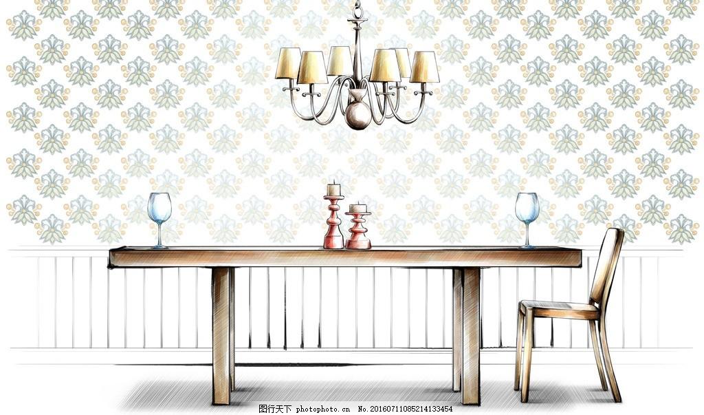 餐厅设计手绘效果 餐厅 餐桌 高脚杯 吊灯 酒杯 家居 家具 陈列 室内