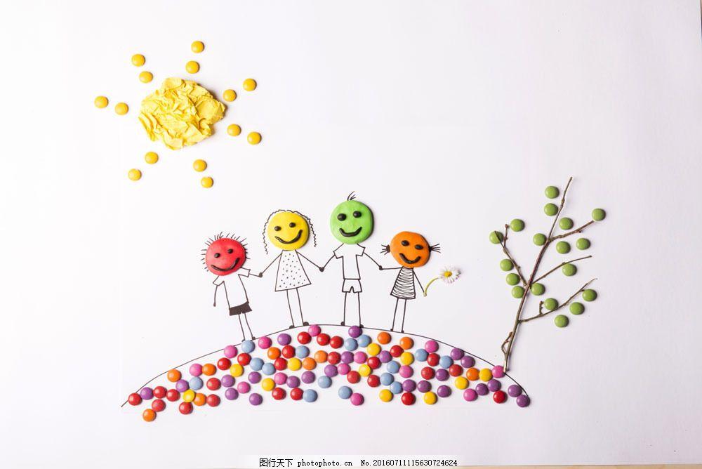 彩色小人和蔬菜 彩色小人和蔬菜图片素材 太阳 树木 手工制作 卡通