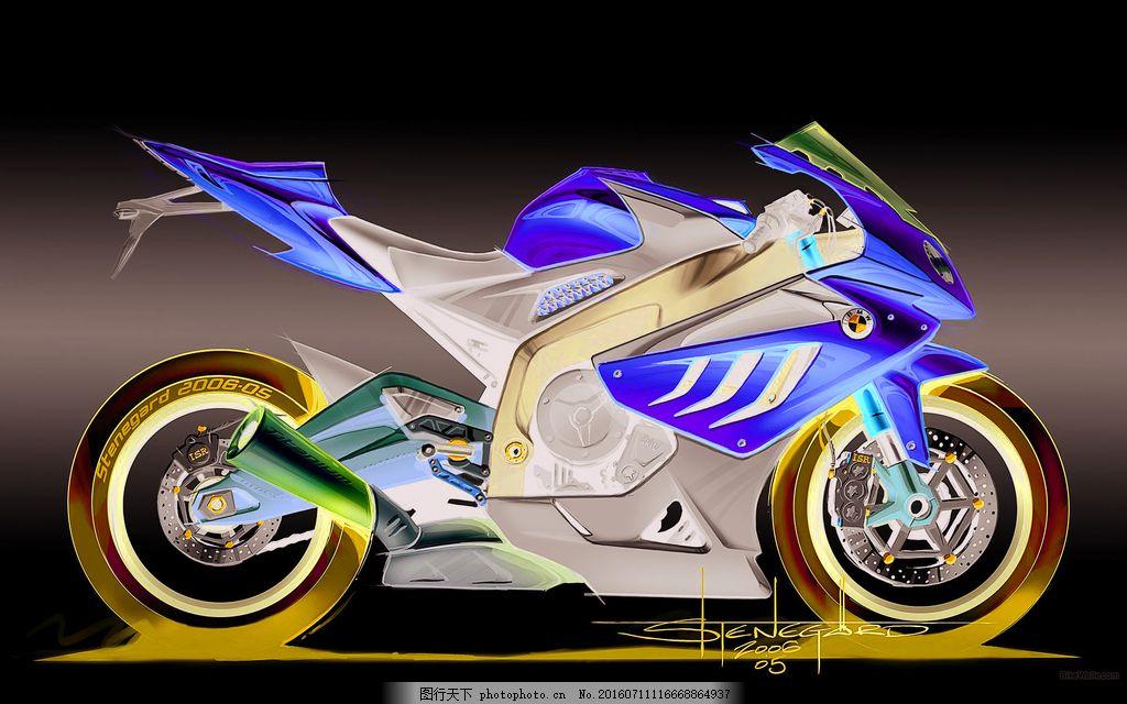 彩色手绘摩托车图片