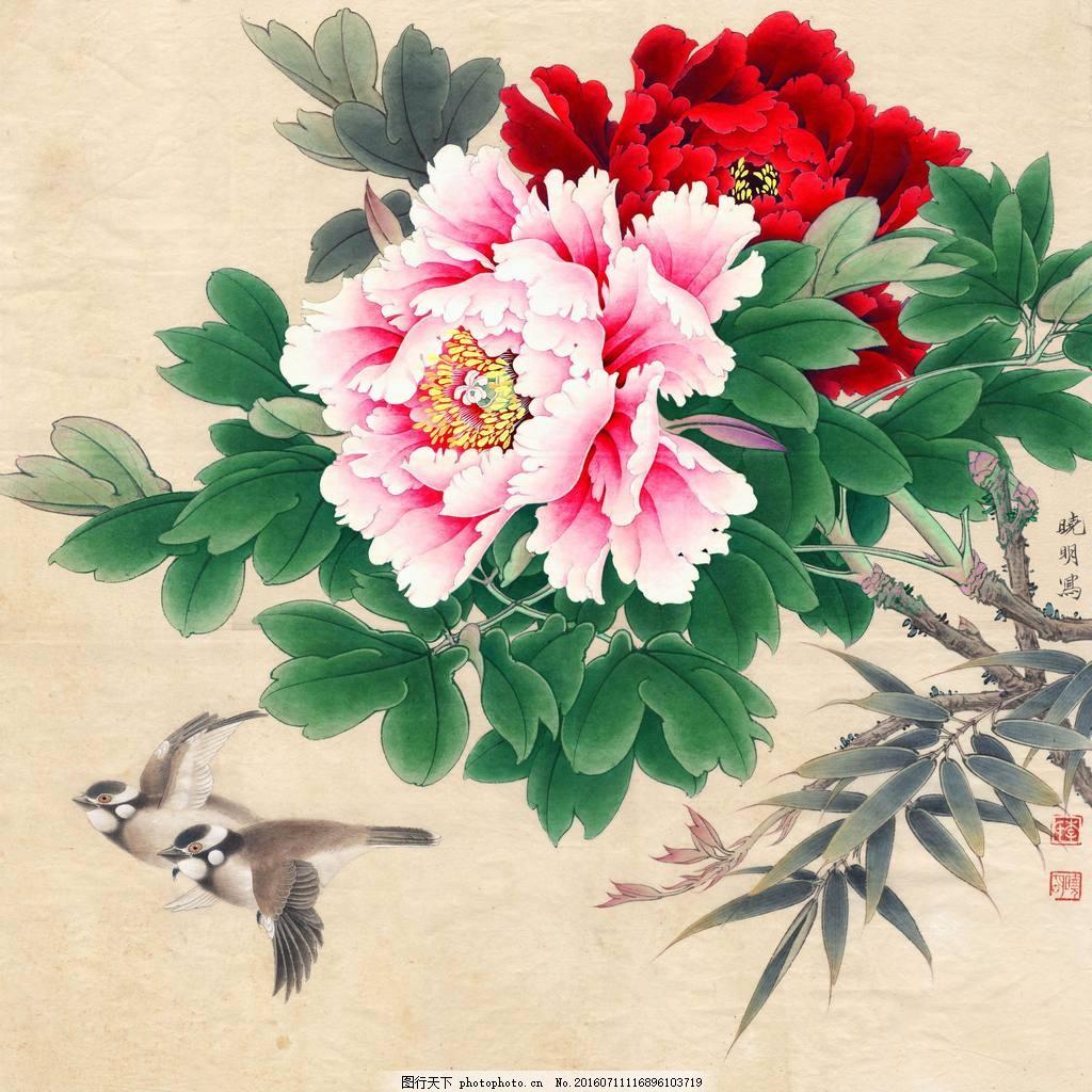 手绘牡丹花工笔画 手绘牡丹花简笔画 手绘 花朵 花卉 牡丹花