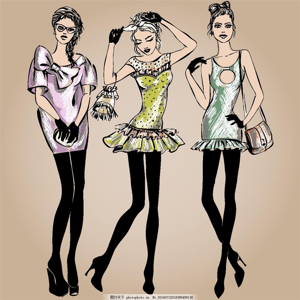 时尚服装模特美女漫画