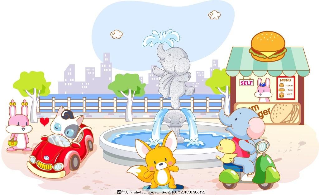 韩国卡通 动物 卡通形象 儿童简笔画 设计 动漫动画 大象 兔子 松鼠
