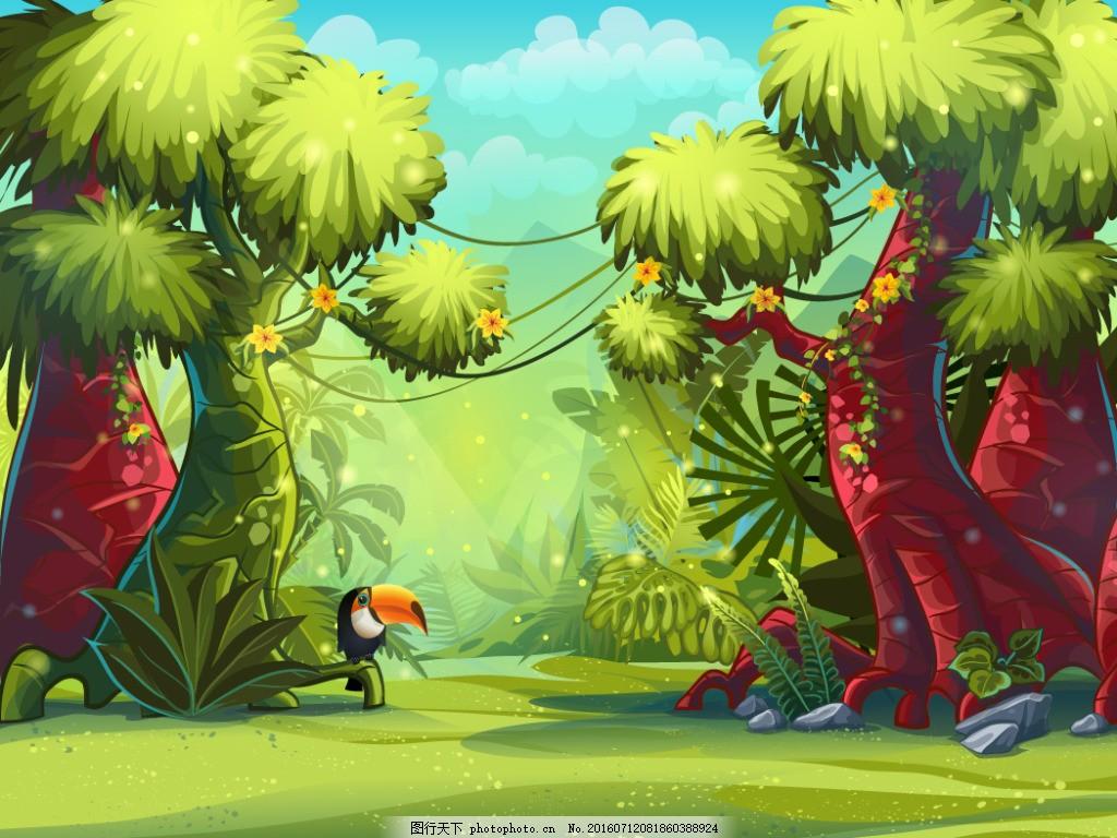 雨林 卡通小鸟 卡通动物漫画 卡通动物插画 其他生物 生物世界 矢量