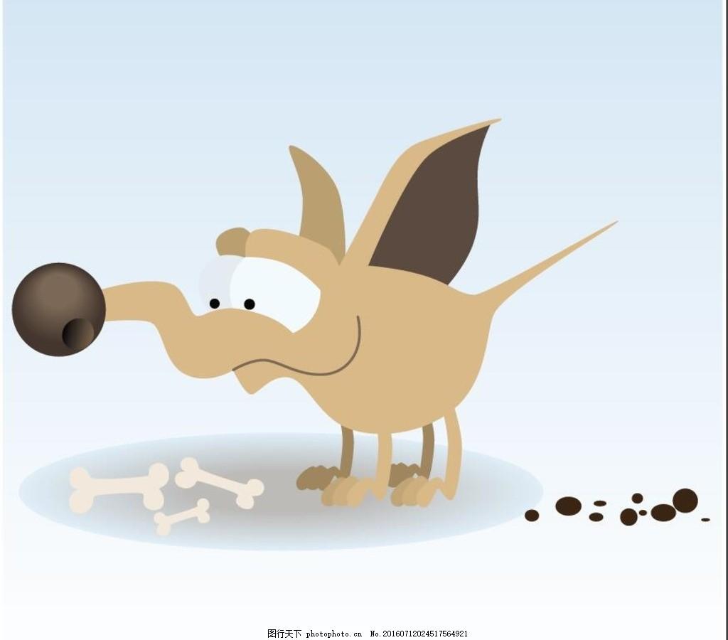 卡通狗印刷图案 服饰图案 印花 动物 小狗 动物矢量
