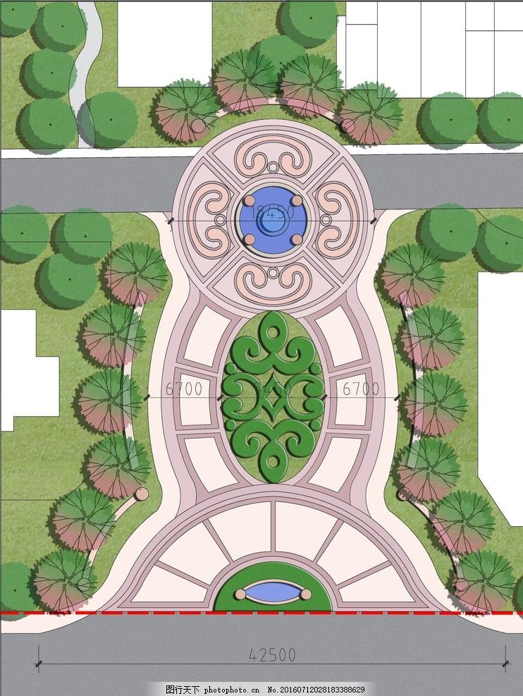区入口平面 彩平图 法式风格 带水景入口 小区主入口 模纹花坛入口 设