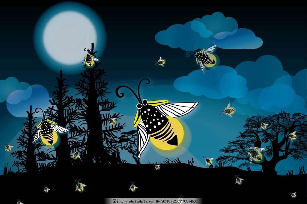 设计图库 psd分层 背景素材  月光的萤火虫 森林 月亮 乌黑的夜晚