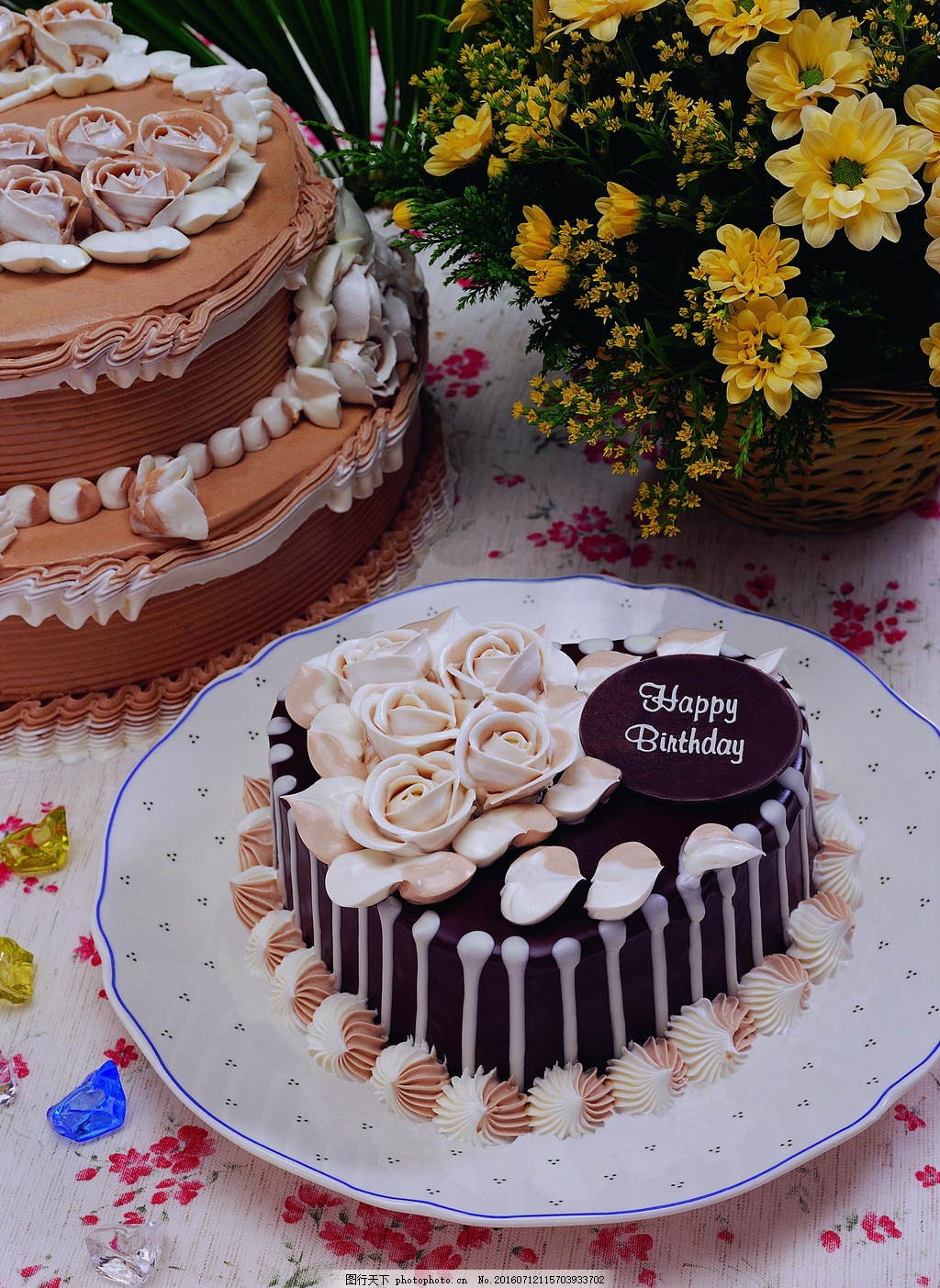 心形裱花玫瑰花蛋糕图片图片