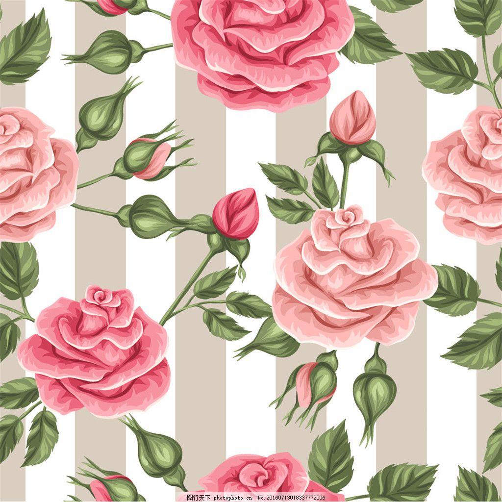 卡通玫瑰花条纹背景图片