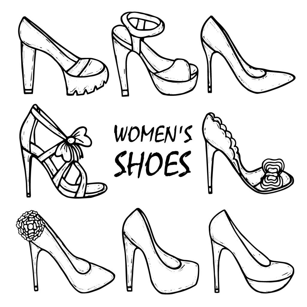 女士鞋子手绘线框素材