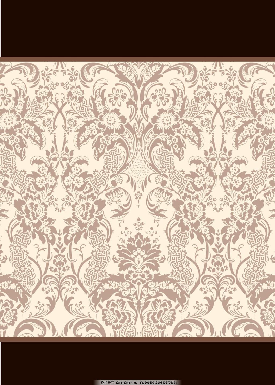 褐色宫廷画风花纹图案 花卉 花纹花边 古风 中国风 连续花纹 服装图案