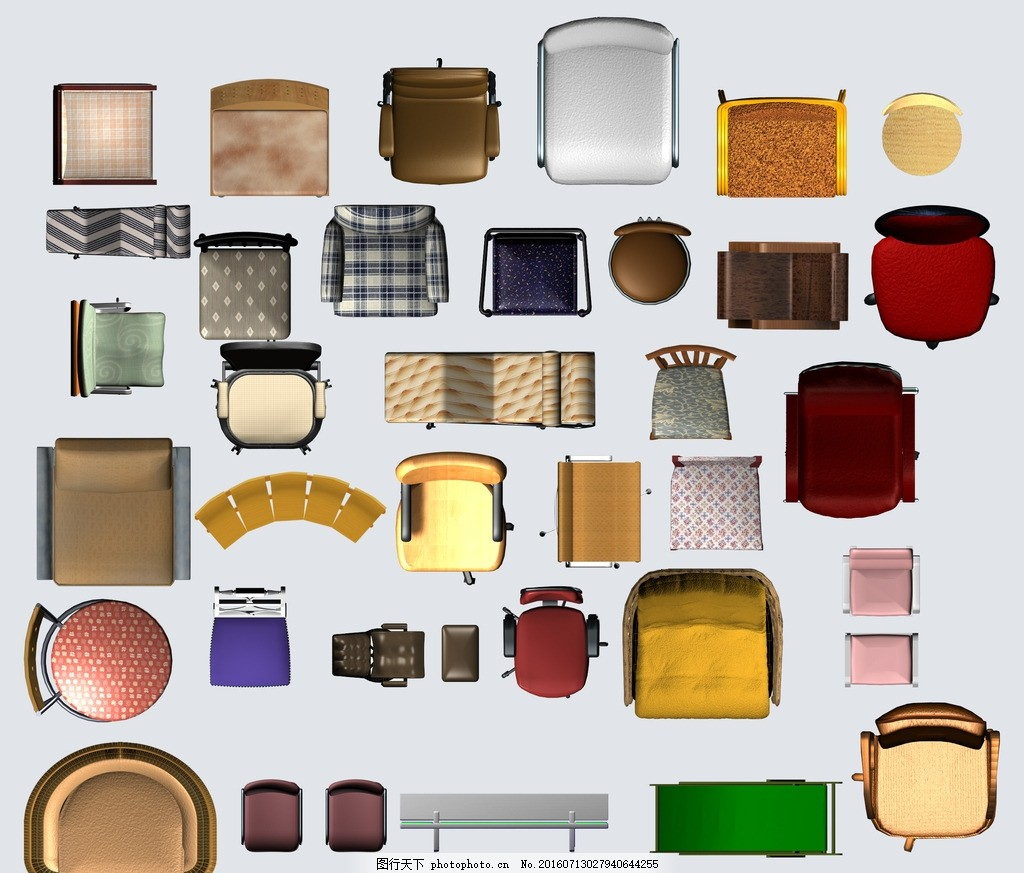 椅子彩平图 彩色平面图 室内 室内彩色 办公室平面图 商务平面图