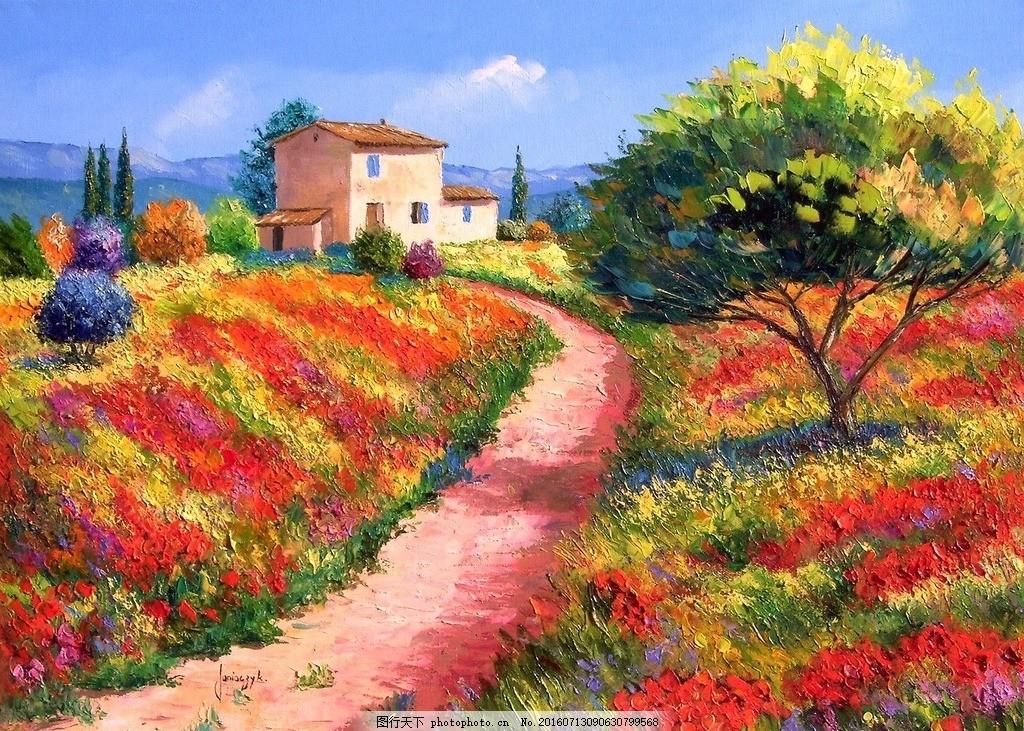 手绘田园 花园森林 风景图 背景墙 草地 电视墙 风景 花朵 玄关背景