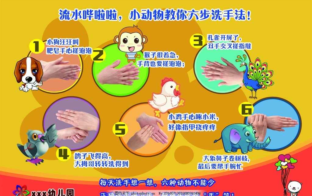 幼儿园 六步洗手法 步骤图展板