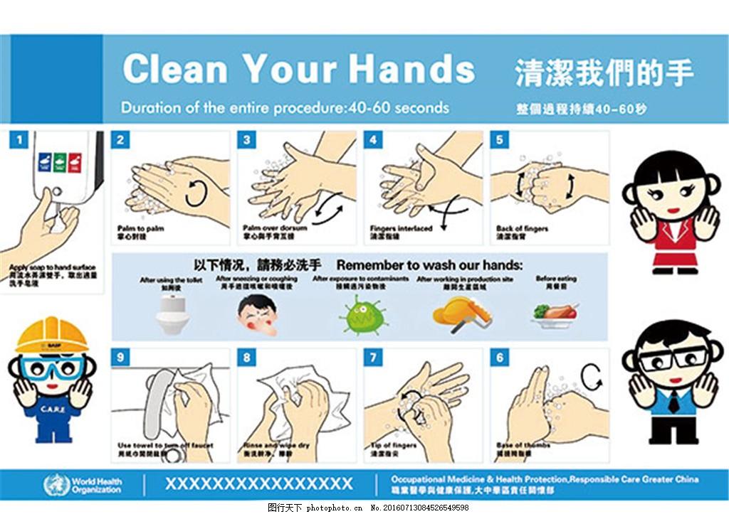 卡通洗手步骤展板 广告设计模板 画册 卡通 娃娃 洗手 小学生 psd