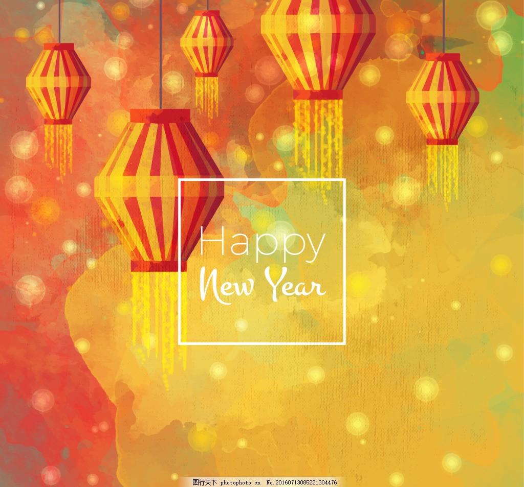 水彩新年灯笼背景