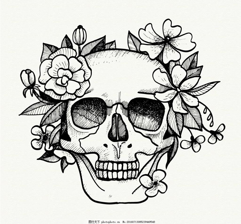 手绘骷髅花卉