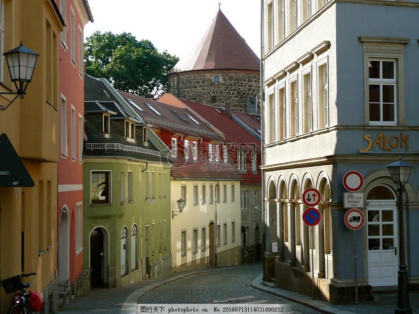 欧式小镇的建筑 阳光 房屋 房子 生活 居住     红色 jpg