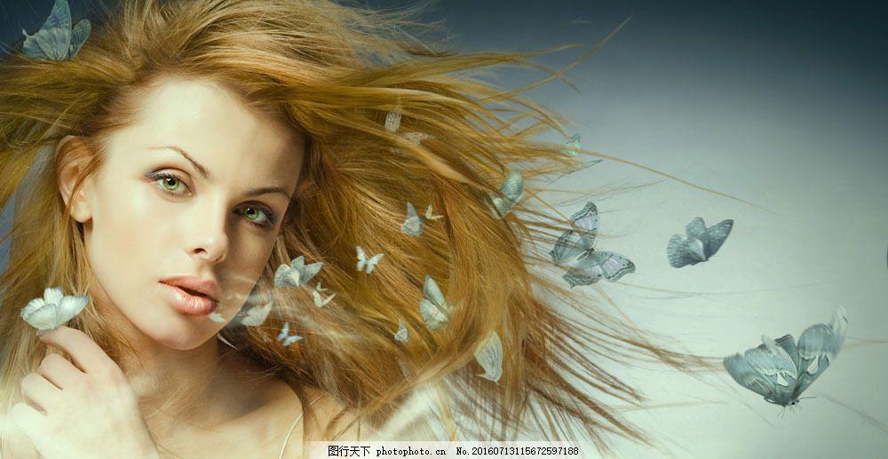 美女与蝴蝶图片