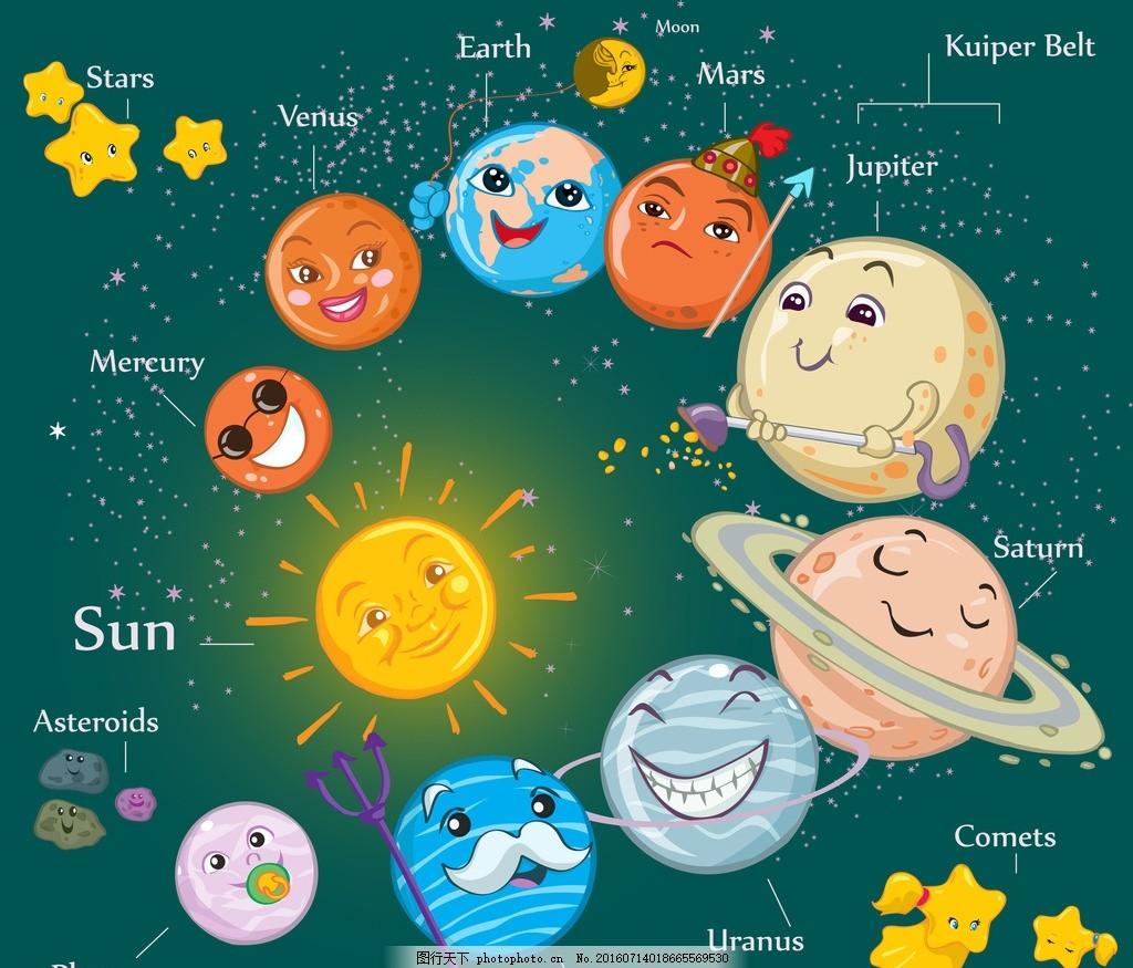 卡通星球 行星 快乐 太阳 火星 水星 地球 动漫动画图片