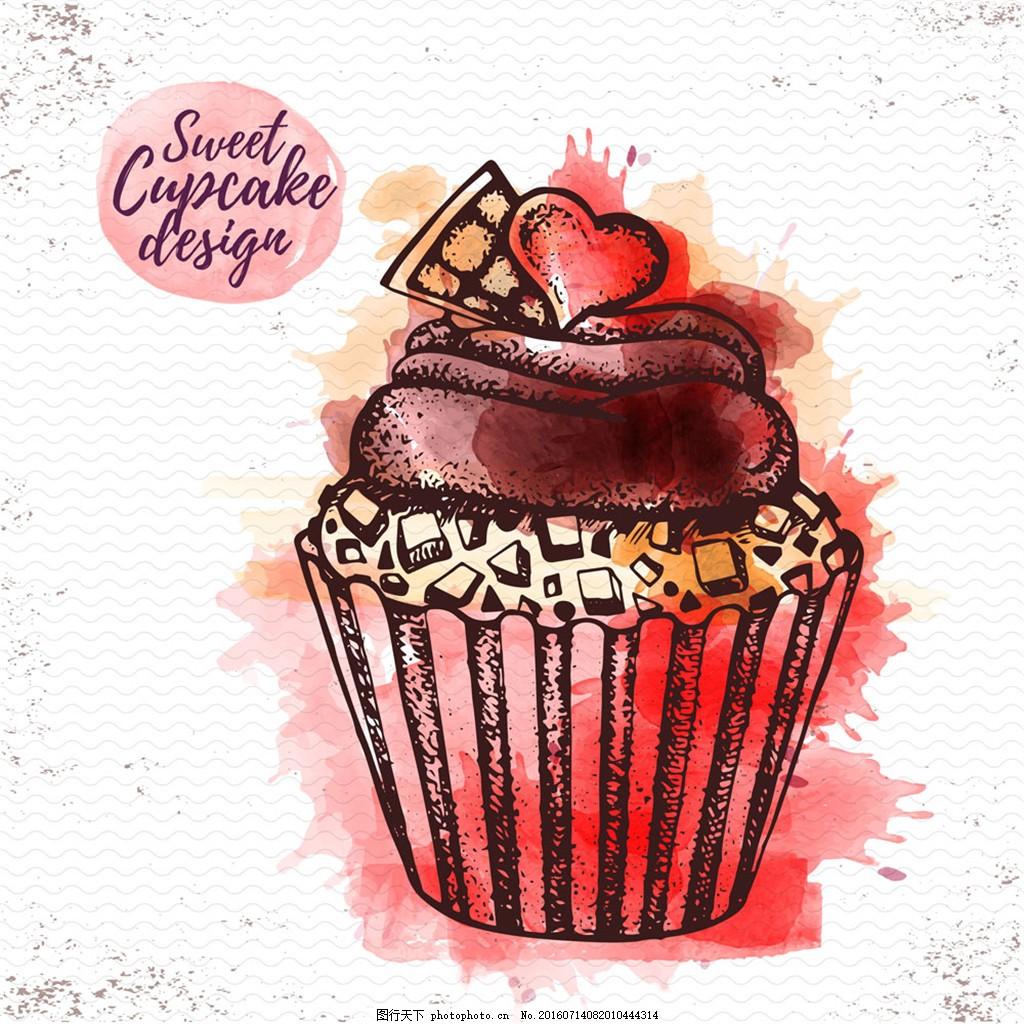 粉色水彩蛋糕 纸杯 纸杯蛋糕 蛋糕海报 蛋糕 海报 甜点蛋糕店 玛芬