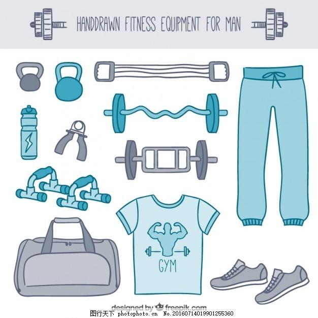 男子健身器材手绘风格 手 运动 人 健身 健康 蓝色 健身房 手绘 跑步