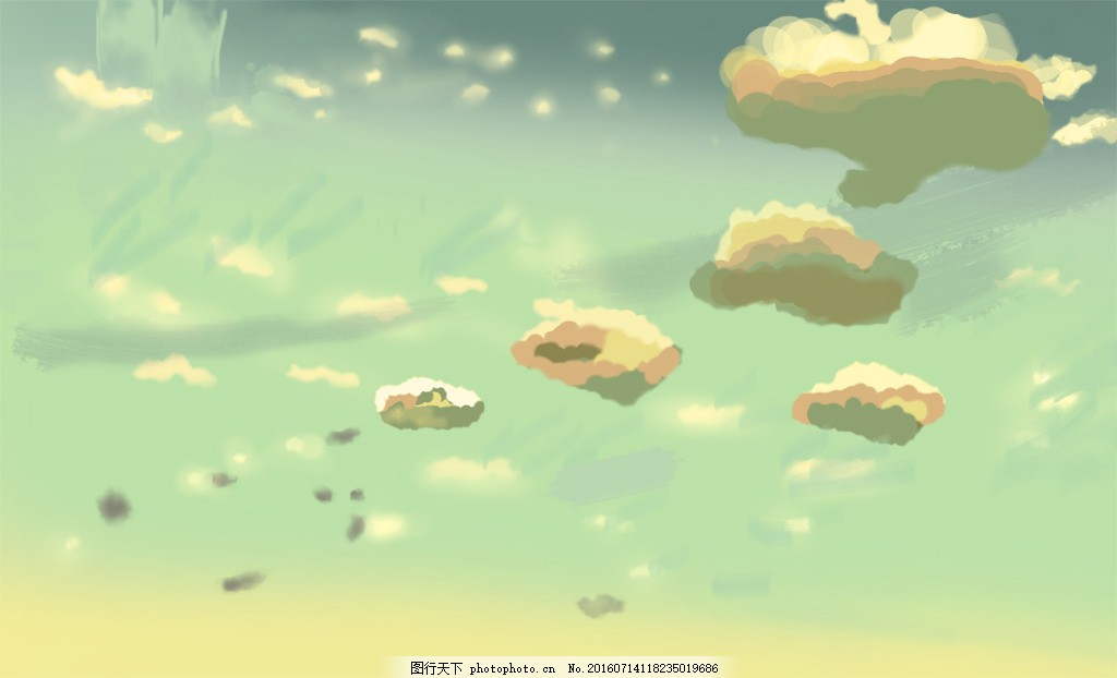 手绘白云 新海诚 天空 动漫 绘画 云彩 动漫场景 背景 展板