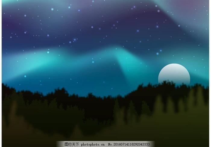 北方灯矢量森林 晚上 森林景观 极光 北极光 灯光 夜空 星星