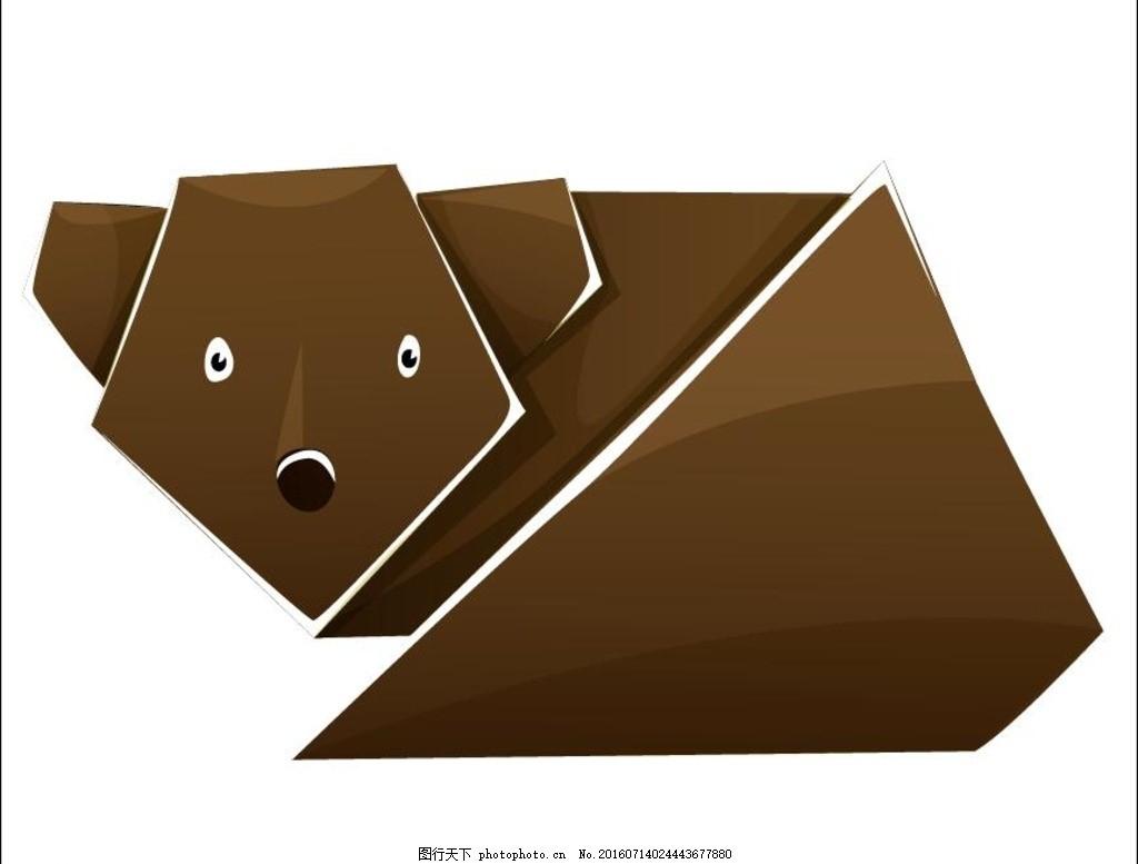 可爱卡通动物折纸 矢量素材 折纸艺术 狗熊 小动物 六一儿童节