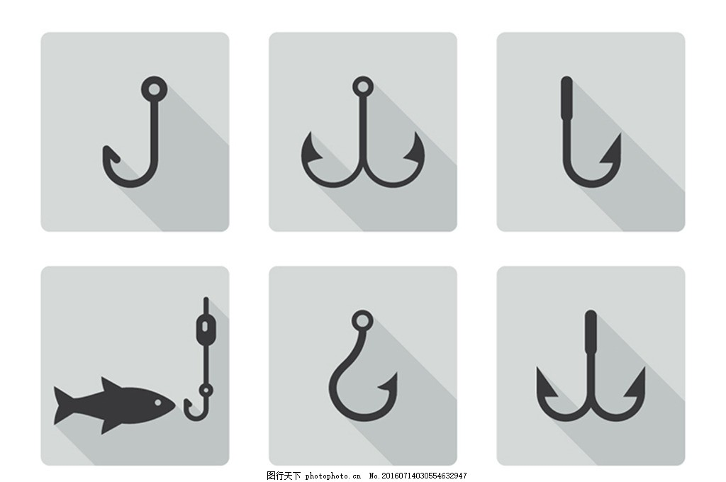 矢量鱼钩 水产 水族 海洋鱼 卡通鱼 海洋动物 水生动物 海洋生物图片