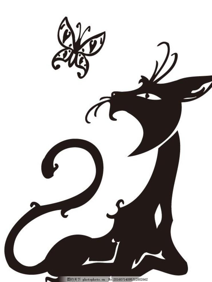 黑白线稿 动物标志 纹身 衣服印花 印花设计 其他 设计 底纹边框 抽象