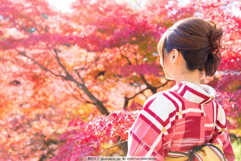 秋天的日本女孩 秋天的日本女孩图片素材 秋天风景 和服 性感女人