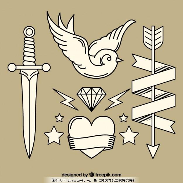 各种复古手绘纹身 旧货 丝带 箭鸟 钻石 艺术 绘画 剑 符号