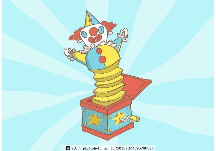 杰克在盒子矢量背景 箱 玩具 小丑 好玩 有趣 惊喜 丰富多彩图片