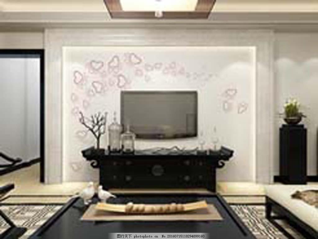 心形花 背景墙 硅藻泥矢量图 客厅图