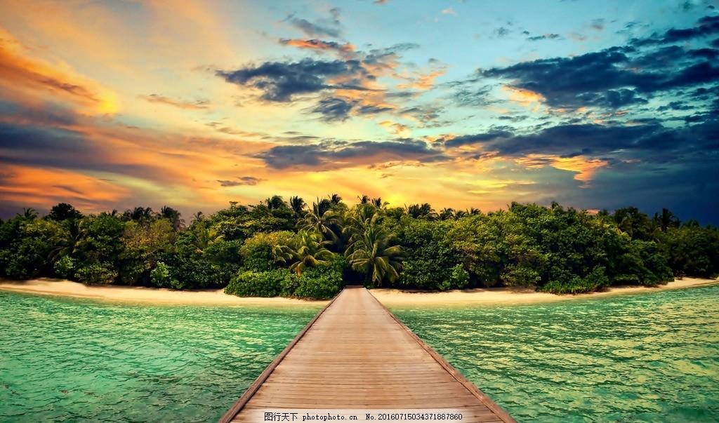 大海 朝阳 晚霞 木桥 椰子树 树林 天空 云朵 海岛 壁纸 电脑桌面