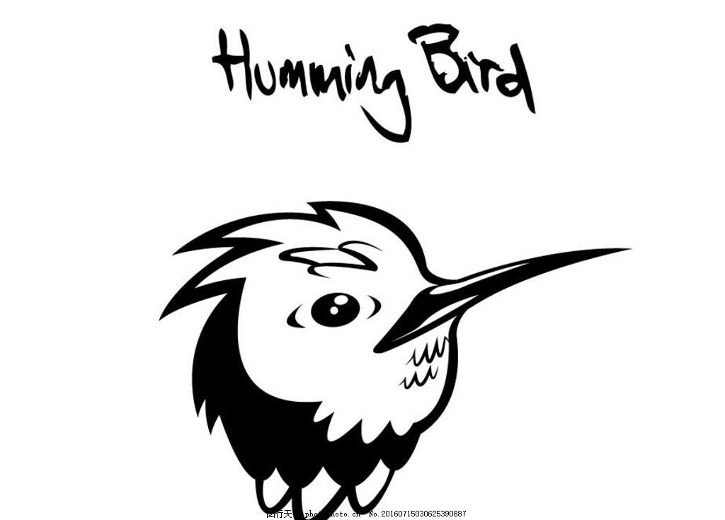 鸟纹身 剪影 矢量 黑色 手绘 线条 矢量素材 图标 黑白剪影
