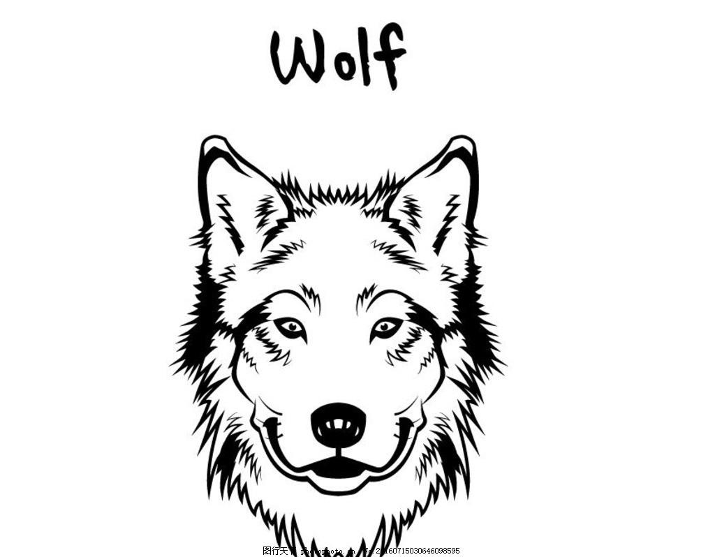 黑白动物头像 剪影 矢量 黑色 手绘 线条 矢量素材 图标 黑白剪影