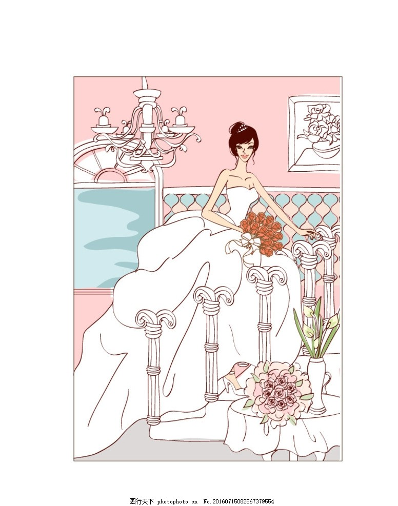 婚纱漫画人物素描画