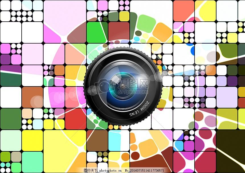 色彩斑斓的格子 红色 绿色 紫色 正方形 白色 黑色 棕色 圆形